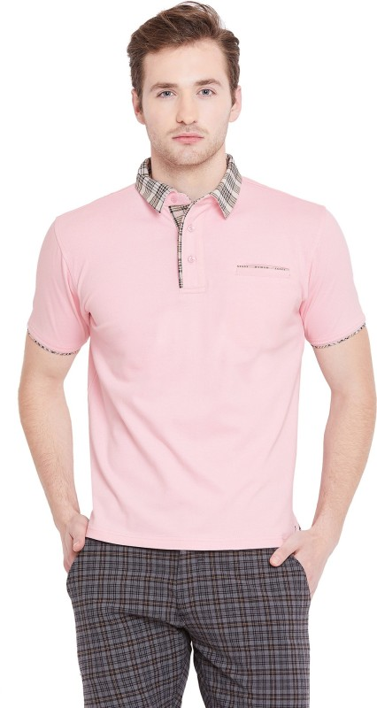 JUMP USA Solid Men Polo Neck Pink T-Shirt