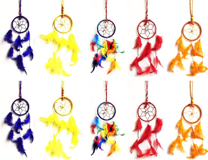 Kraft Village Dream Catcher for Car Hanging Attract Positive Dreams Pack of 10 Wool Dream Catcher(10 inch, Yellow, Red, Pink, Green)