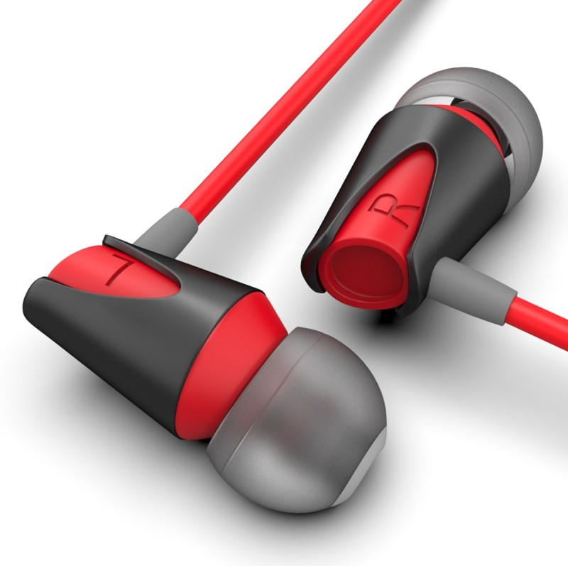 Boult Audio BassBuds Storm Wired Headset with Mic(Red, Grey, In the Ear)