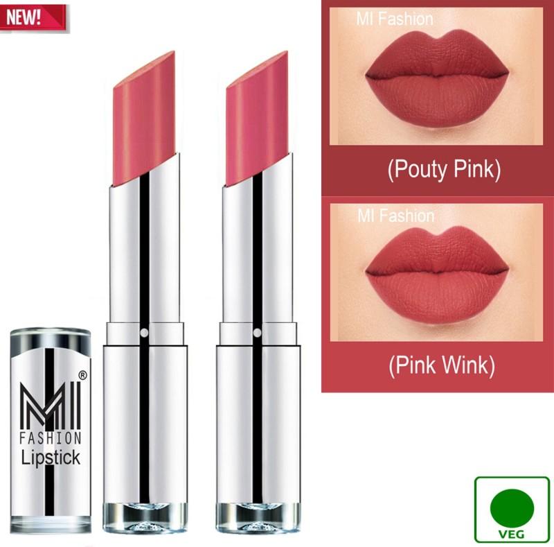 MI FASHION 100% Veg and Vitamin e Enriched Long Stay Soft Matte Addiction Lipstick(Pouty Pink, Pink Wink, 7 g)