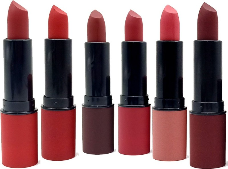 ZODAK Lip Stuck Amplified Lipstick (Pack of 6 )(Juicy Rum, Chocolate Mousse, Wine Red, Hot Red, Party Pink, Corel Orange, 34 g)