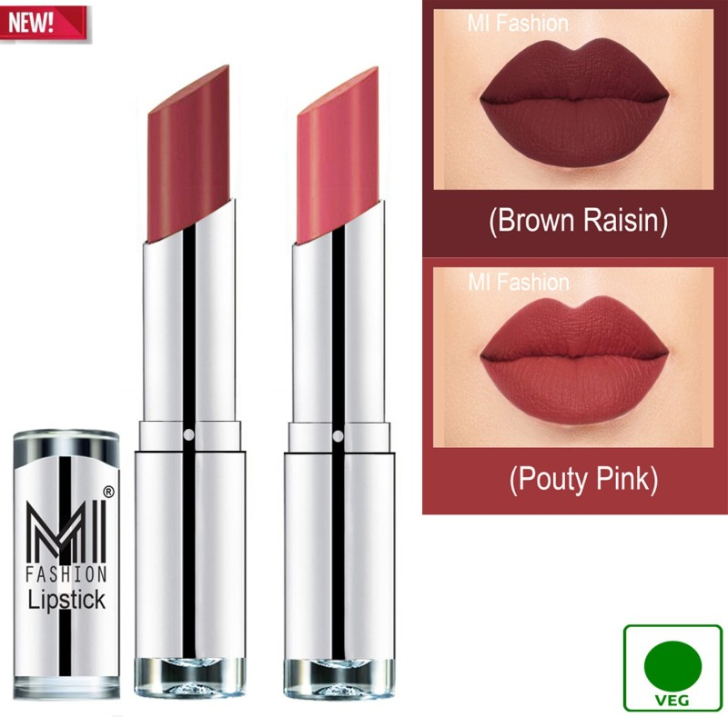 MI FASHION 100% Veg and Vitamin e Enriched Long Stay Soft Matte Addiction Lipstick(Pouty Pink, Brown Raisin, 7 g)