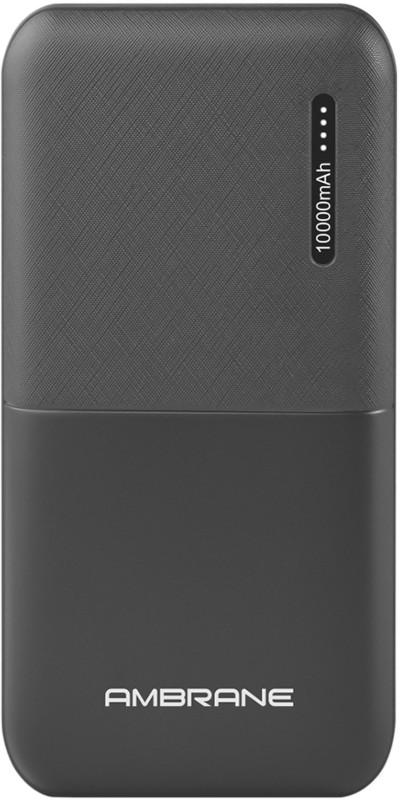 Ambrane 10000 mAh Power Bank (Fast Charging, 12 W)(Black, Lithium Polymer)