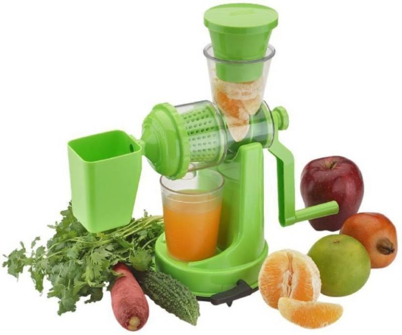 Dreamshop Fruit And Vegetabel Manual Hand Press Juicer Grinder With Stainless Steel Handle Plastic Hand Juicer(Green Pack of 1)