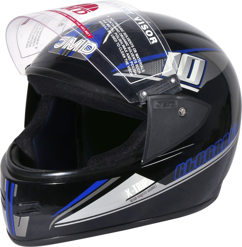 JMD ELEGANT Premium Decor D2 Full Face (L) BLACK-BLUE Glossy Motorbike Helmet(Blue, Black)