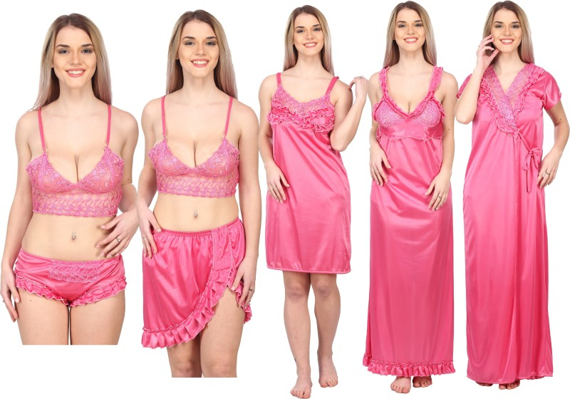 A2Z TRADING Women Solid Pink Night Suit Set