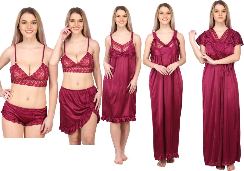 A2Z TRADING Women Solid Maroon Night Suit Set