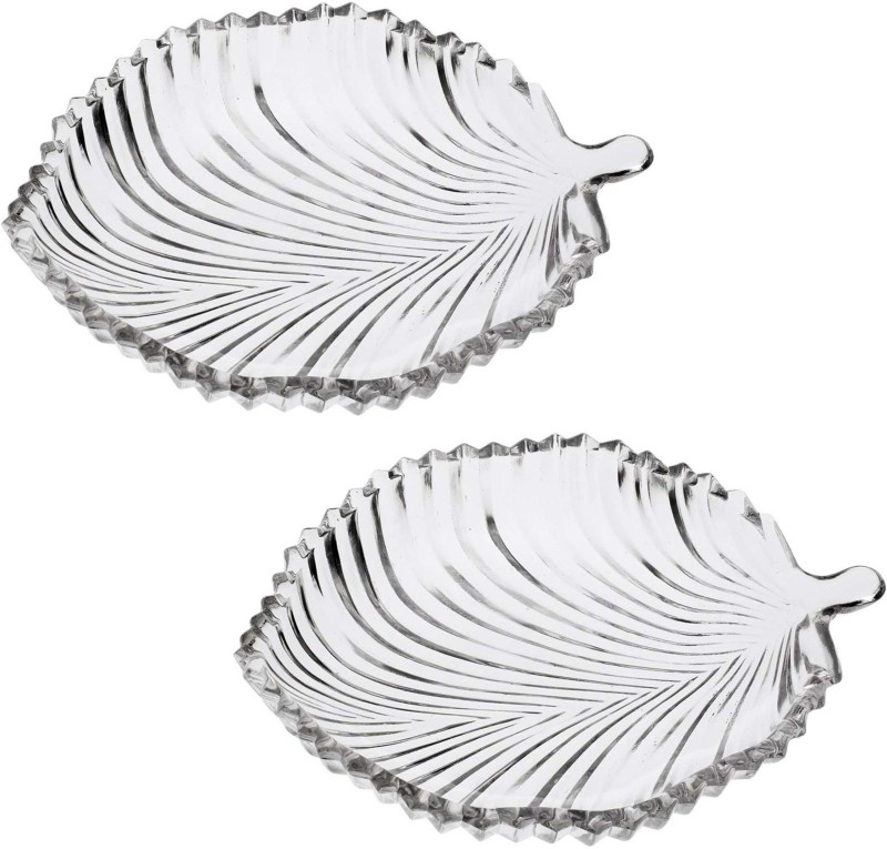 Gifts & Decor Leaf Shape Glass Plate for Dry Fruits,Spices Quarter Plate(2 Quarter Plate)
