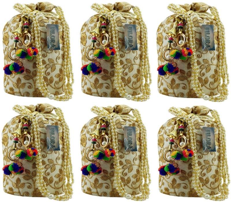 AILTINO Women's Ethnic Rajasthani Silk Potli Bag Potli Purse Bridal Purse Combo Potli(Gold)