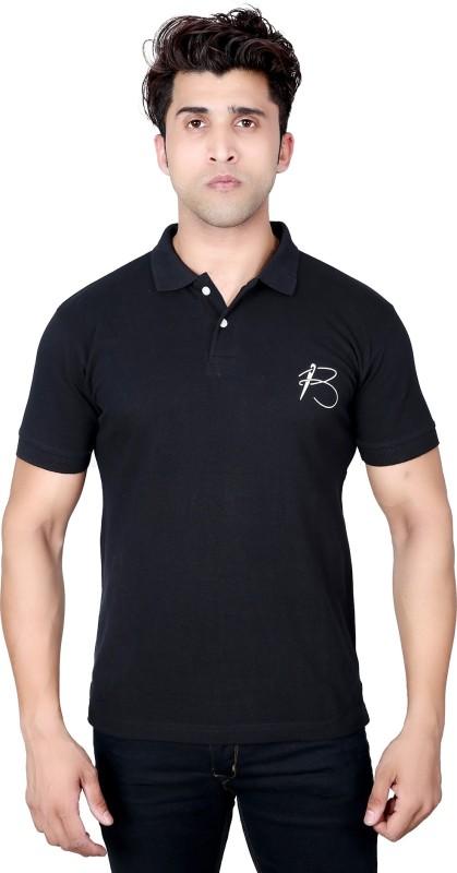 BRAGITOFF Solid Men Polo Neck Black T-Shirt