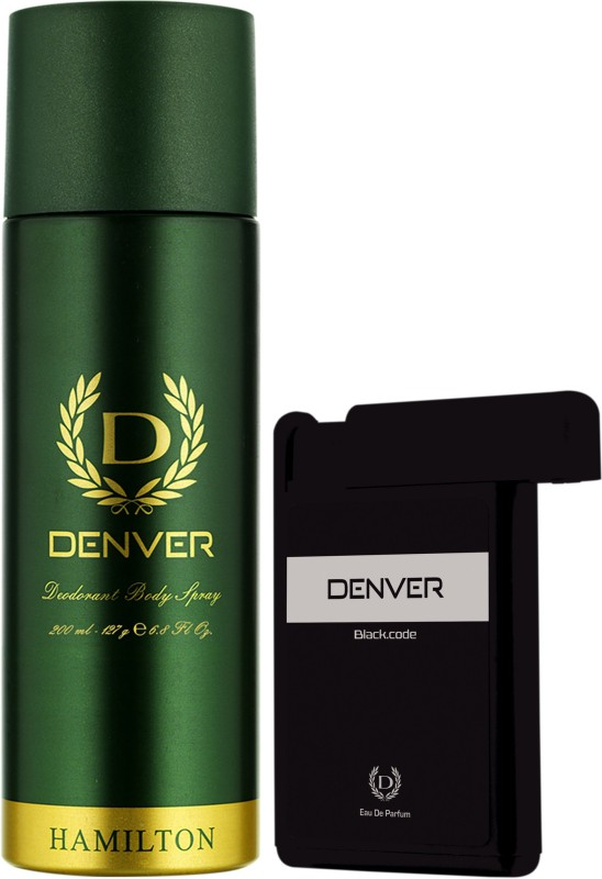 Denver Hamilton Deo & Black Code Pocket Perfume Combo Deodorant Spray - For Men(218 ml, Pack of 2)