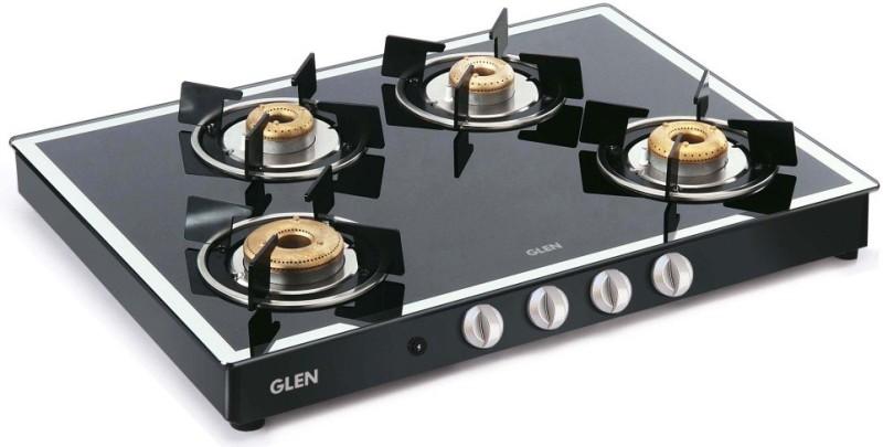 GLEN 1048 GT AI Black Forged Burners Mirror Finish Glass Automatic Gas Stove(4 Burners)