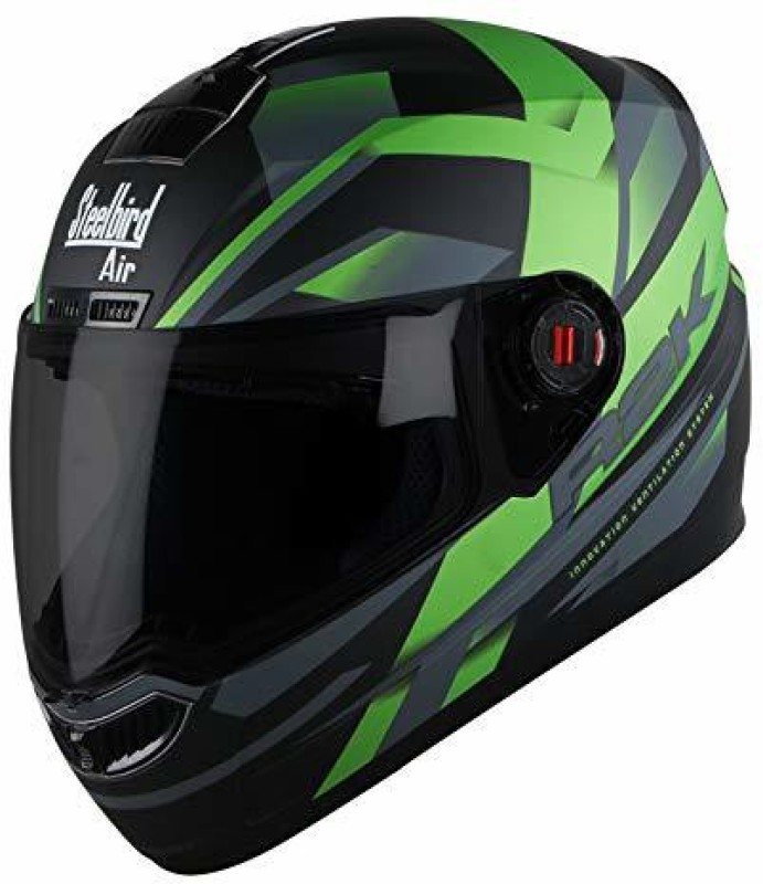 Steelbird AIR SBA-1 R2K Motorbike Helmet(Matt Black/Green)