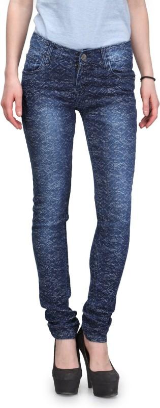 Fashion Cult Garphic Desgin Slim Women Blue Jeans