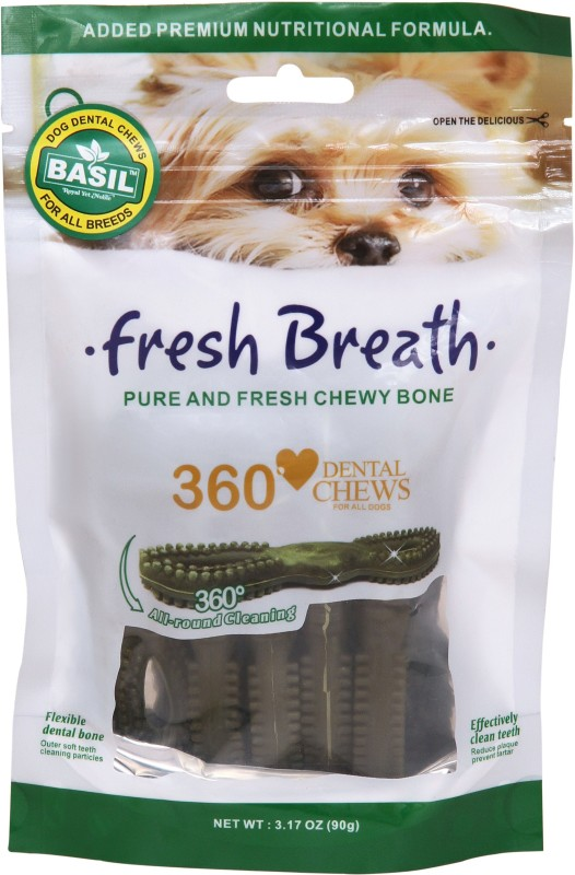 BASIL 360* Fresh Breath Dental Chew 90gm Pet Mouth Freshner(Dogs 90 ml)