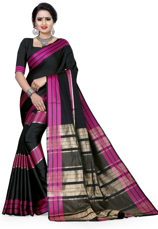 The Fashion Outlets Woven, Solid, Plain Kanjivaram Cotton Silk Saree(Black)