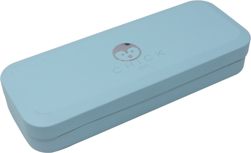 QIPS SMILE CHICK Art Metal Pencil Box(Set of 1, Light Blue)