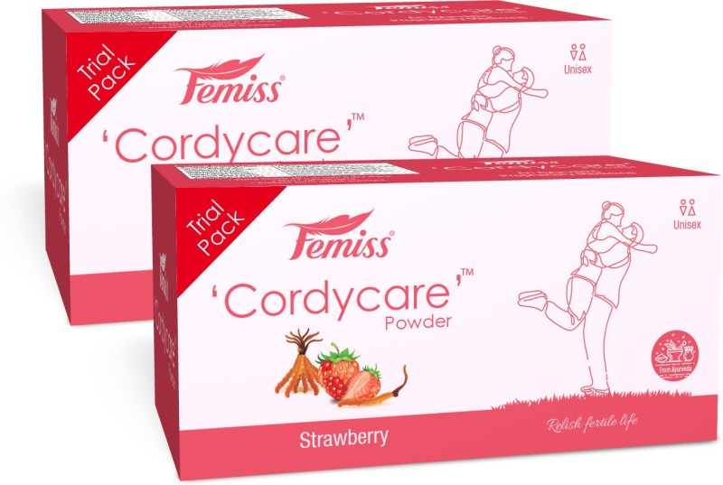 Femiss Cordy Care Powder Strawberry Flavored-(Trail pack of 2) Sperm Kit(0 Tests, Pack of 2)
