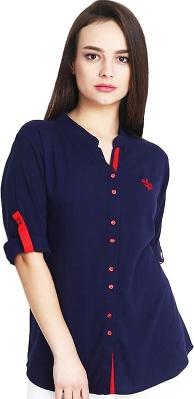 Mitaha Women Solid Casual Dark Blue Shirt