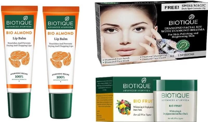 BIOTIQUE BIO Face Wash, Papaya Scrub, Coconut Brightening Cream, lip balm(Set of 4)