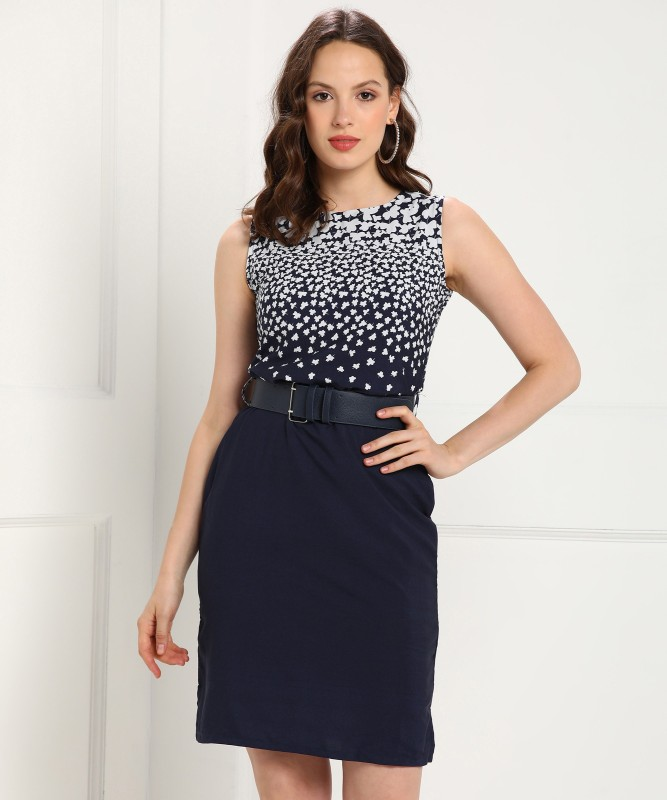 Tokyo Talkies Women Shift Dark Blue Dress