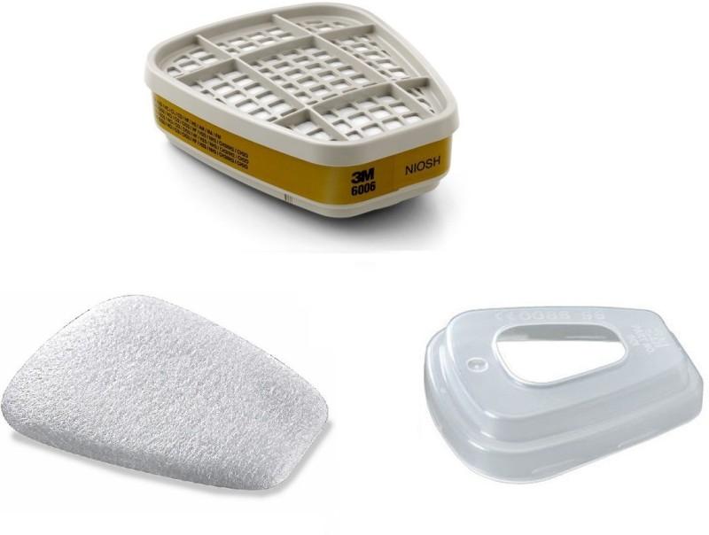 3M 6006 Multigas / Vapour cartridges (1 Pair), 501 Prefilter Retainer (1 Pair) and 5N11 Dust / Mist Paint spray prefilter (1 Pair) Sarvam Respirator