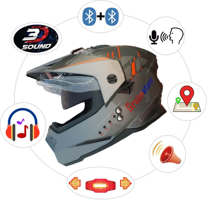 Greenstone Bluetooth Helmet with Brake/Indicator Light & Voice Assistance M Motorbike Helmet(Grey & Red)
