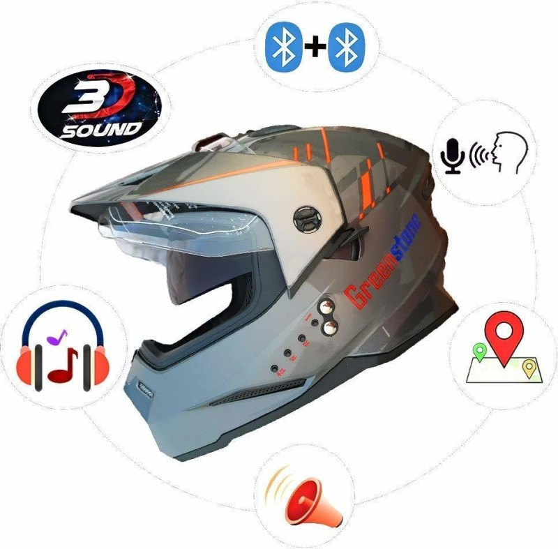Greenstone Moto Smart Bluetooth Helmet with Voice Assistance 600MM Motorbike Helmet(Grey & Red)