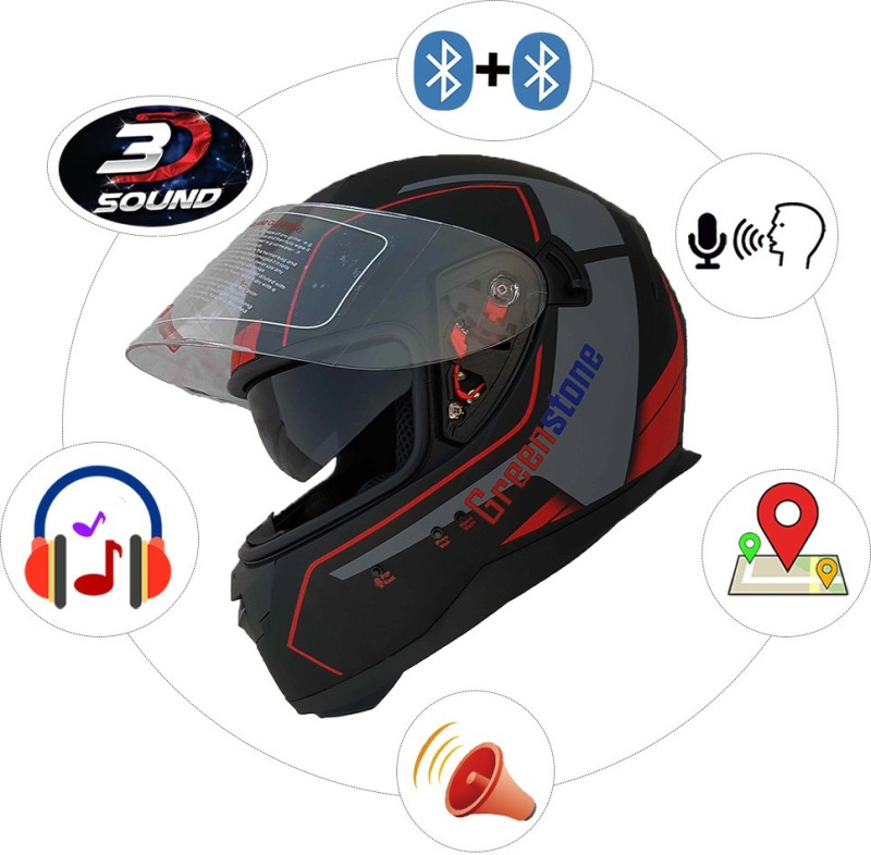 Greenstone G6 Full Face Smart Bluetooth Helmet with Voice Assistance Motorbike Helmet(Black & Red)