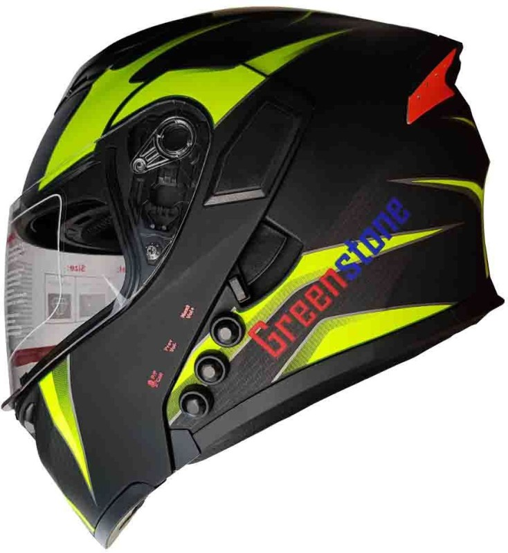 Greenstone G6 Smart Dual Bluetooth Helmet with Brake Motorbike Helmet(Black & Green)