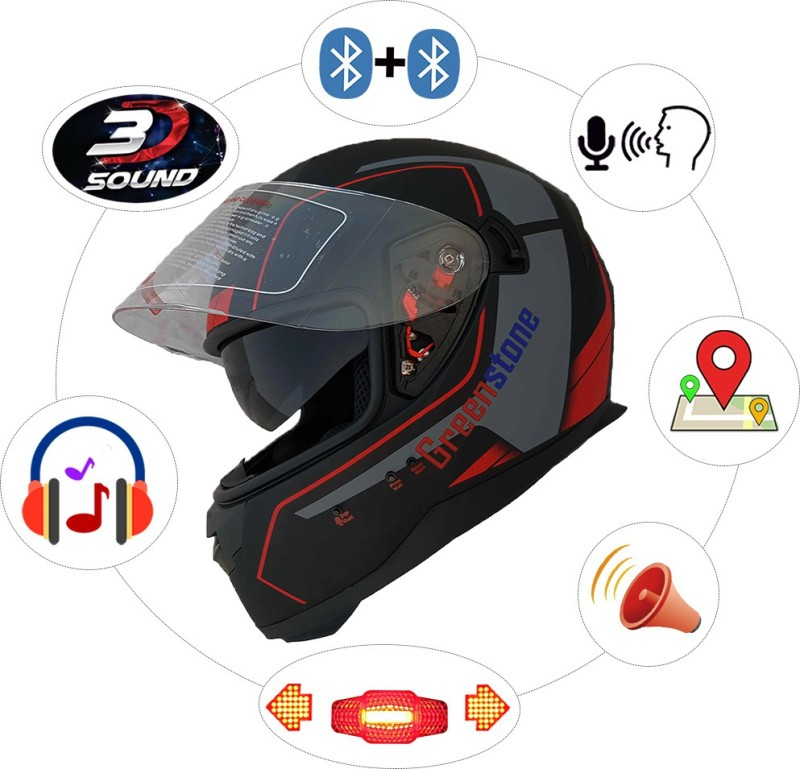 Greenstone Bluetooth Helmet with Brake/Indicator Light & Voice Assistance Motorbike Helmet(Black & Red)