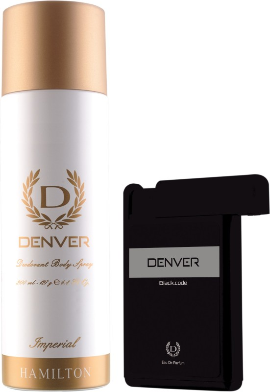 Denver Imperial Deo & Black Code Pocket Perfume Combo Deodorant Spray - For Men(218 ml, Pack of 2)