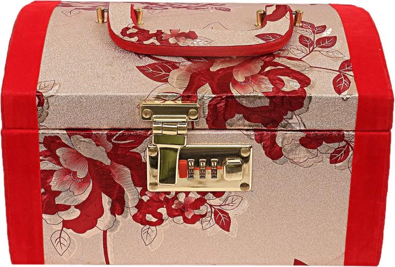 Kuber Industries Vanity Box With Lock System (Maroon) -CTKTC8740 Floral Design Vanity Box(Maroon)