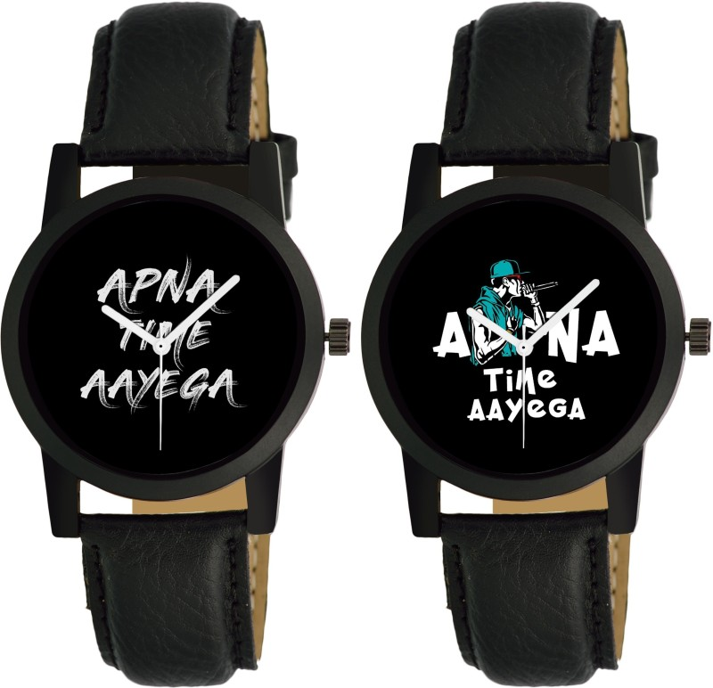 Maan International Combo 2 APNA TIME AYEGA Print Dial Analog Men Analog Watch - For Boys