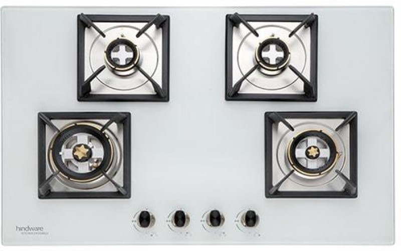 Hindware Bravia White 4B 80 CM Glass, Steel Automatic Gas Stove(4 Burners)