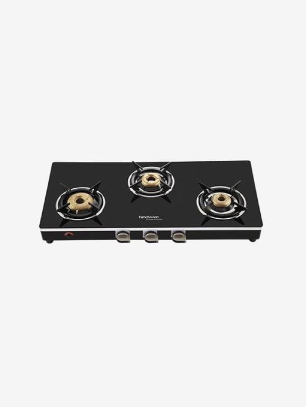 Hindware Milano GL 3B Glass, Steel Manual Gas Stove(3 Burners)