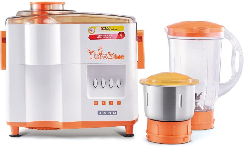 Usha 3442 450 W Juicer Mixer Grinder(Orange, 2 Jars)