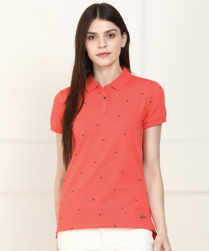 Wrangler Printed Women Polo Neck Orange T-Shirt