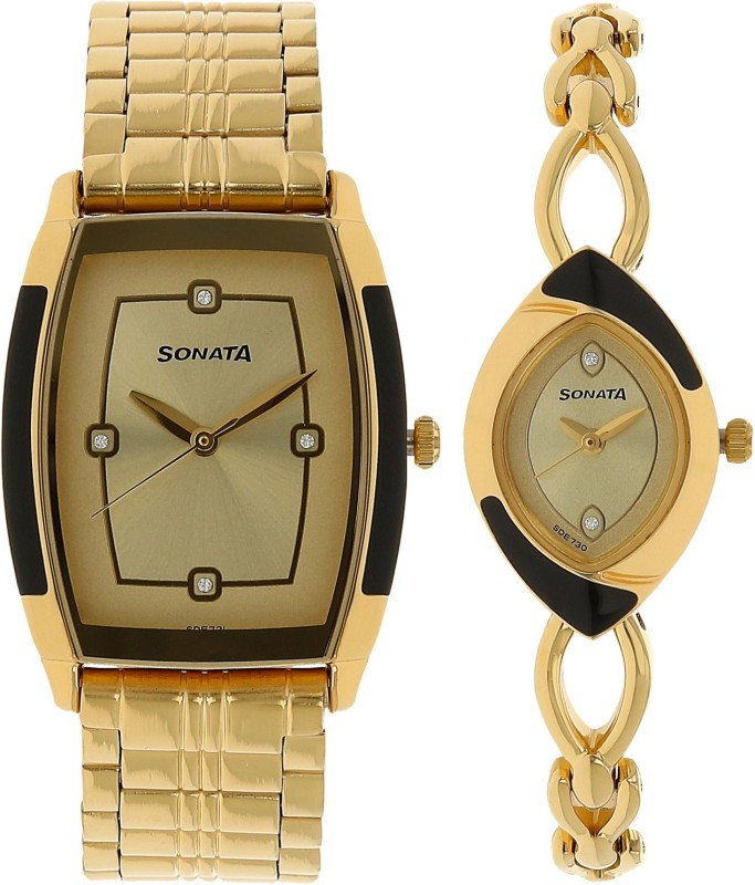Sonata 70808069YM02C Analog Watch - For Couple
