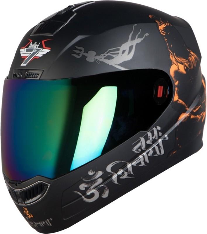 Steelbird SBA-1 Mahadev Motorbike Helmet(Matt Black Orange Gold Visor)
