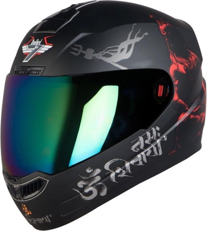 Steelbird SBA-1 Mahadev Motorbike Helmet(Matt Black Red Gold Visor)
