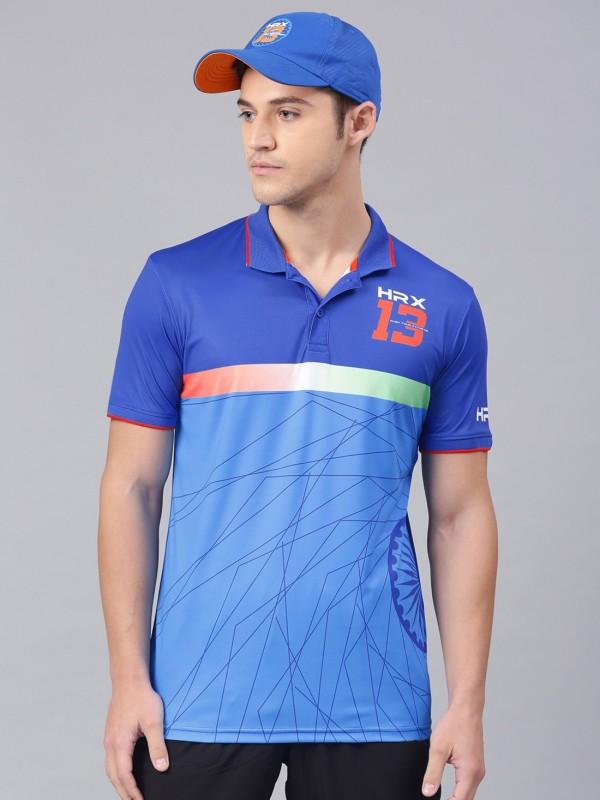 HRX by Hrithik Roshan Printed Men Polo Neck Blue T-Shirt