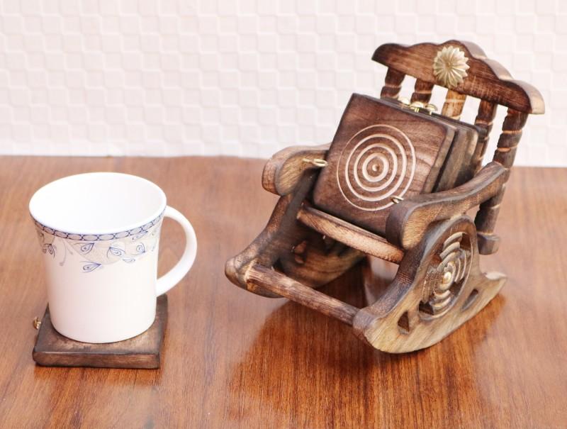 Worthy Shoppee Square Wood, Wood Coaster Set(Pack of 6)