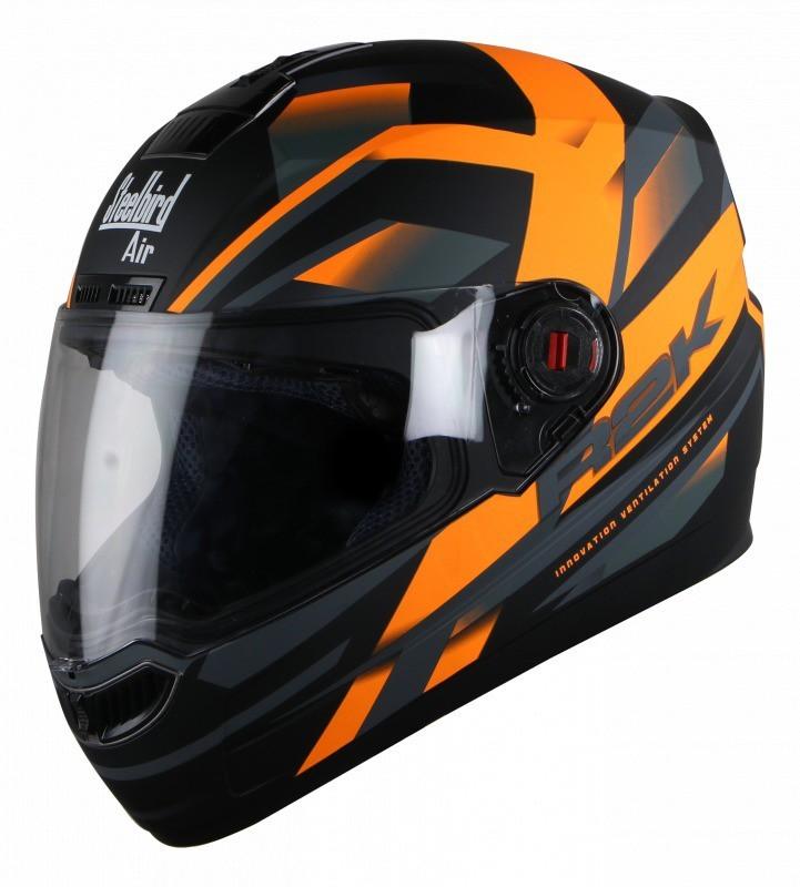 Steelbird SBA-1 R2K Motorbike Helmet(Matt Black / Orange)