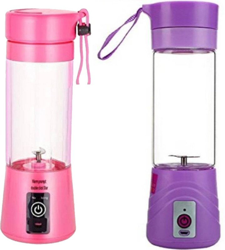 GORICH GR-CMG-39 Set of 2 MINI PORTABLE JUICER USB Juicer Cup 500 Juicer Mixer Grinder(Pink, 2 Jars)