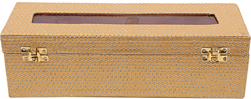 Kuber industries Wooden One Rod Bangle Storage Box (Gold) -CTKTC8700 Metalic Design Vanity Box(Gold)