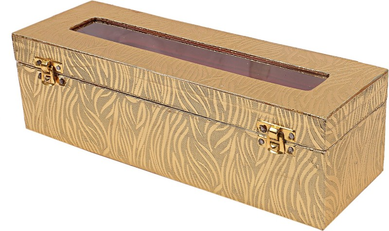 Kuber industries Wooden 2 Pieces One Rod Bangle Storage Box (Gold) -CTKTC8707 Metalic Leaf Design Vanity Box(Gold)