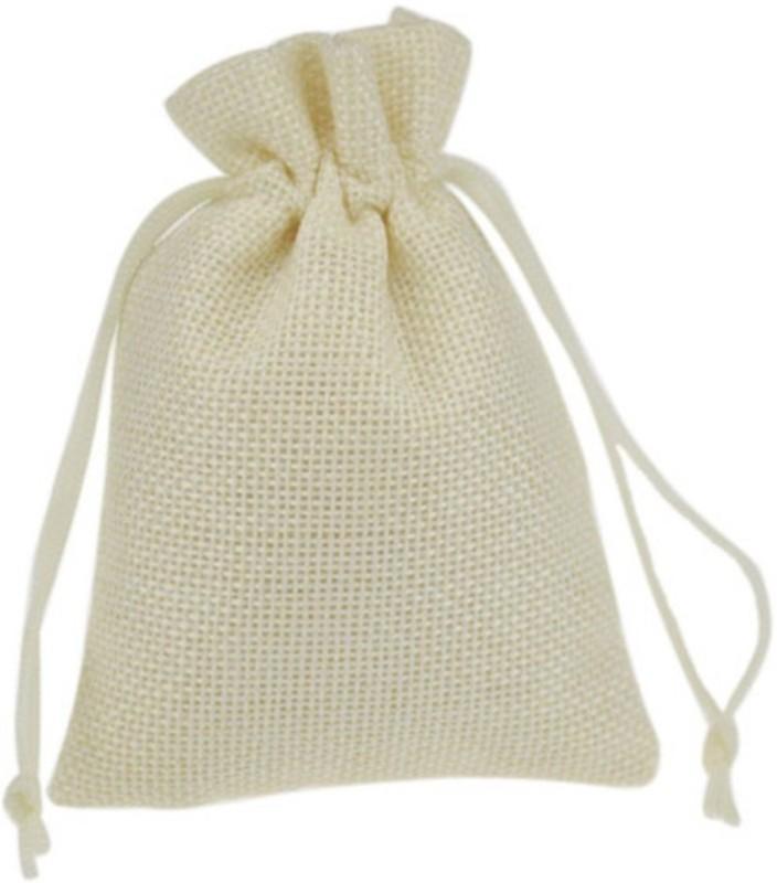 Aadya Crafts Jute Pouch Potli(White)
