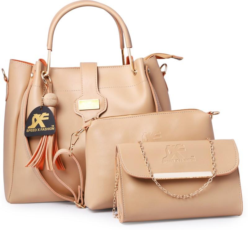 Speed X Fashion Women Beige Hand-held Bag