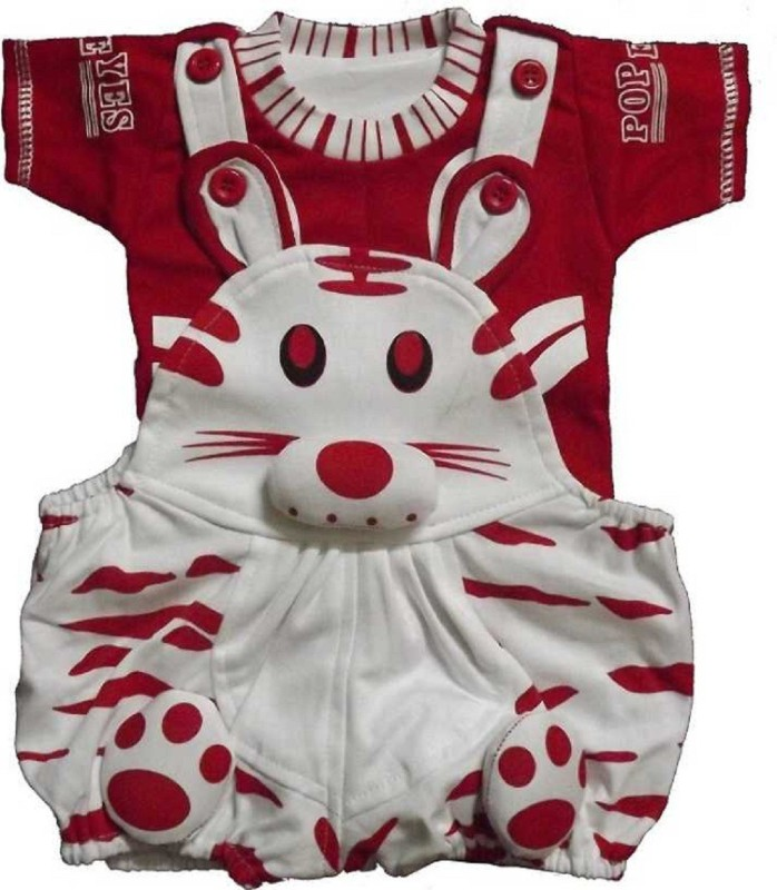 Icable Dungaree For Boys & Girls Printed Pure Cotton(Red, Pack of 1)